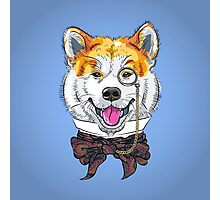 Funny cartoon hipster dog Akita Inu Photographic Print