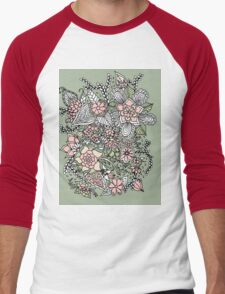 Modern floral pattern pink green hand drawn Men's Baseball ¾ T-Shirt