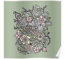 Modern floral pattern pink green hand drawn Poster