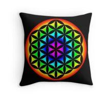 Flower of Life Rainbow 2 Throw Pillow
