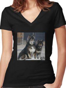 Wolfie Wear Hoodie Women's Fitted V-Neck T-Shirt