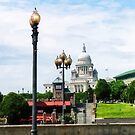 Capitol Building Seen from Waterplace Park Providence RI by Susan Savad