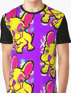 Colourful French Bull Dog Yellow  Graphic T-Shirt