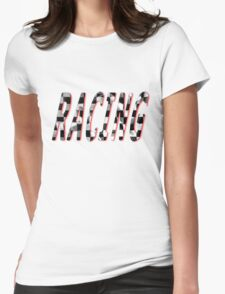 Racing Word Chequered Flag Womens Fitted T-Shirt