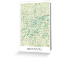 Luxembourg Map Blue Vintage Greeting Card