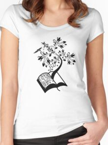 A Book A Day Keeps The Reality Away - Typography Women's Fitted Scoop T-Shirt