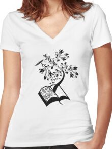 A Book A Day Keeps The Reality Away - Typography Women's Fitted V-Neck T-Shirt