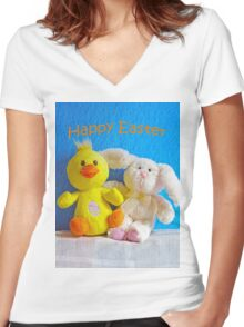 Happy Easter Chick & Bunny Women's Fitted V-Neck T-Shirt