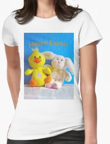 Happy Easter Chick & Bunny Womens Fitted T-Shirt
