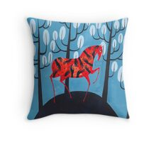 Smug red horse Throw Pillow
