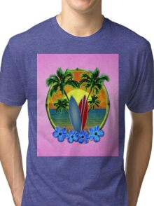 Pink Surfing Sunset Tri-blend T-Shirt