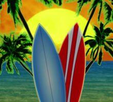 Pink Surfing Sunset Sticker