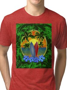 Surfboard Sunset  Tri-blend T-Shirt