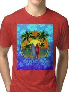 Surfing Sunset Honu Tri-blend T-Shirt
