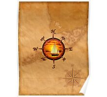 Compass Rose And Sunset Poster