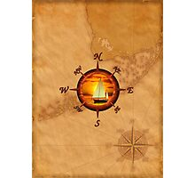 Compass Rose And Sunset Photographic Print