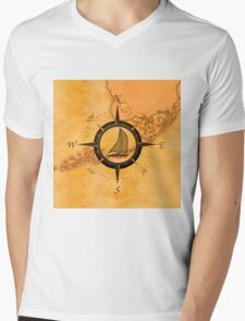 Florida Keys Map Compass Mens V-Neck T-Shirt
