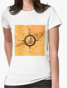 Florida Keys Map Compass Womens Fitted T-Shirt