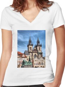 Two towers Women's Fitted V-Neck T-Shirt