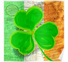 Vintage Irish Shamrock Collage Poster