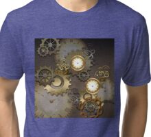 Steampunk, clocks and gears  Tri-blend T-Shirt