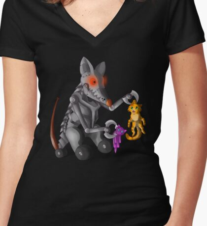 Cat and Mouse Women's Fitted V-Neck T-Shirt