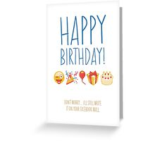 Funny Social Media Emoji Birthday Card Greeting Card