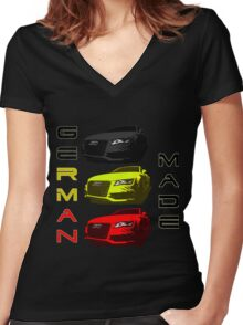 AUDI GERMAN MADE Women's Fitted V-Neck T-Shirt