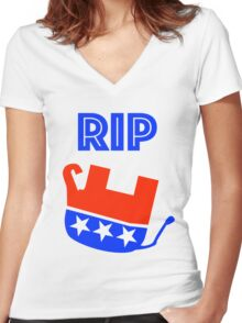 RIP GOP rest in peace dead republican party Women's Fitted V-Neck T-Shirt