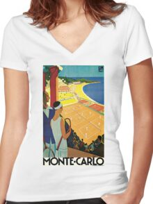 1920s Vintage Monte Carlo Tennis Travel Ad  Women's Fitted V-Neck T-Shirt