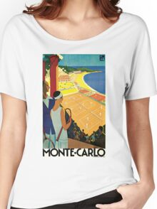 1920s Vintage Monte Carlo Tennis Travel Ad  Women's Relaxed Fit T-Shirt