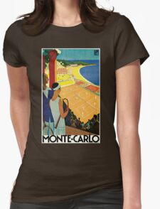 1920s Vintage Monte Carlo Tennis Travel Ad  Womens Fitted T-Shirt