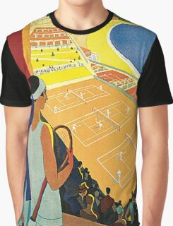1920s Vintage Monte Carlo Tennis Travel Ad  Graphic T-Shirt