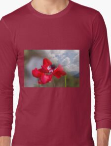 landscape rocky mountain and poppy Long Sleeve T-Shirt