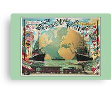 Vintage voyage around the world travel advertising Canvas Print