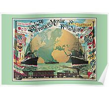 Vintage voyage around the world travel advertising Poster