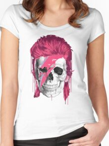 Bowie Skull Women's Fitted Scoop T-Shirt