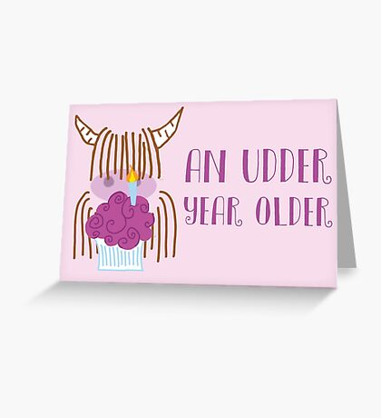 Highland Cow Birthday Pink Greeting Card