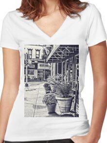 Along the sidewalk Women's Fitted V-Neck T-Shirt