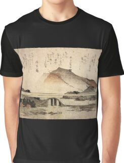 'Mountain Landscape with a Bridge' by Katsushika Hokusai (Reproduction) Graphic T-Shirt