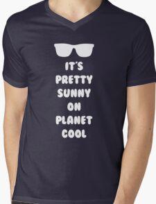 Planet Cool (White) Mens V-Neck T-Shirt