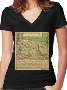 American Revolutionary War Era Maps 1750-1786 744 Plan of Fort William Henry and camp at Lake George Women's Fitted V-Neck T-Shirt