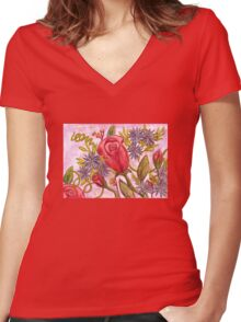 Flower Bouquet Women's Fitted V-Neck T-Shirt
