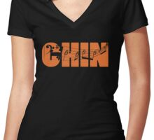 Chin Music #2 Women's Fitted V-Neck T-Shirt