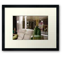 Artistic interior of furnityre shop. View through the window with reflections. Framed Print