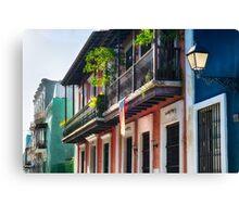Old San Juan Street in Atmospheric Light Canvas Print