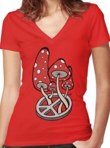 Mushrooms growing out of a peace symbol Women's Fitted V-Neck T-Shirt