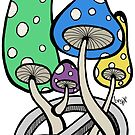 Mushrooms growing out of a peace symbol by Brett Gilbert