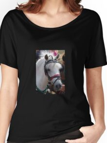 BEAUTIFUL WHITE PONY WITH JAUNTY HAIR STYLE Women's Relaxed Fit T-Shirt
