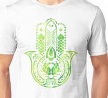 Hamsa Hand Hippie Green Unisex T-Shirt